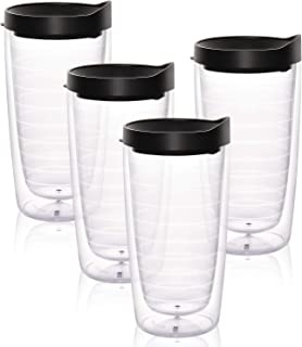 4 Pack Insulated Tumblers, Clear Insulated Plastic Tumbler with Black Lid, Clear Double Wall Tumblers for Hot Cold Drinks Friend Family Daily Use, 16 Oz