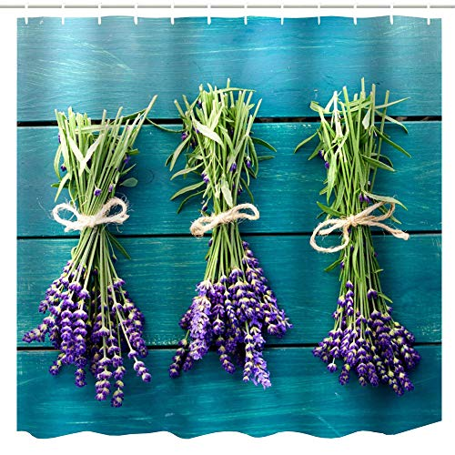 BROSHAN Teal Pattern Shower Curtain Washable, Purple Flowers Bouquets on Wooden Board Art Print Curtain for Girls Bathroom, Lavender Floral Bathroom Set with Shower Curtain
