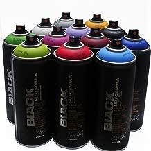 Montana BLACK 400ml Popular Colors Set of 12 Graffiti Street Art Mural Spray Paint