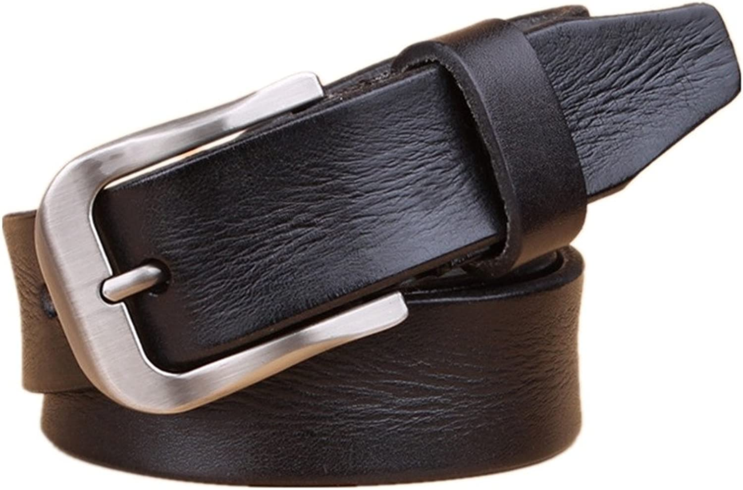 Women's Belt Genuine Cowhide Leather Belt Vintage Casual Belts for Jeans, (color   Black, Size   115cm)