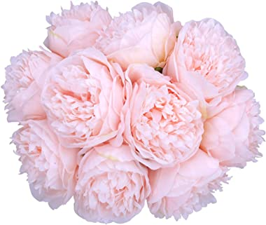 Greentime 2 Pack Artificial Peony Bouquets Total 10 Heads Silk Fake Flowers Living Room Home Bridal Wedding Party Festival Bar Table Decor (Light Pink)