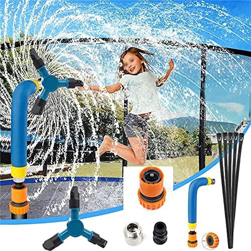 SXJC Aspersor Giratorio De Trampolín para Niños, Aspersor Giratorio Automático De 3 Brazos 360 ° para Divertidos Juguetes De Juegos Acuáticos De Verano Accesorios De Trampolín,Blue-Small