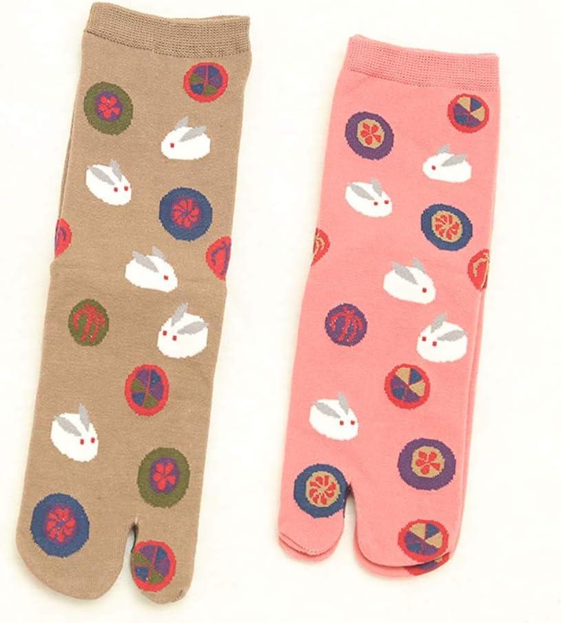 2 Pairs Flip Flops Socks Women Spring Autumn Cotton Two Toe Casual Socks, Camel/Pink