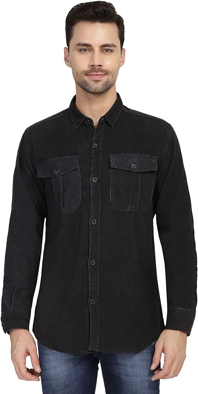 nick&jess Camisa negra de pana de doble bolsillo para hombre