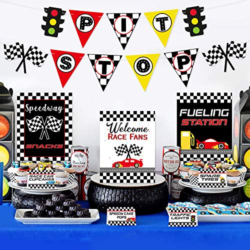 Race Car Bar Decorations Kit Racing Bar Signs Snack Tent Cards Pit Stop Banner for Race Car Birthday Party Decorations Let's Go Racing Theme Party Supplies