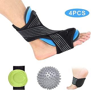 Plantar Fasciitis Night Splint Foot Drop Orthotic Supports Kit - Plantar Fasciitis Braces & Spiky Massage Ball & 2pcs Arch Supports for Plantar Fasciitis Pain Fits Right/Left Foot