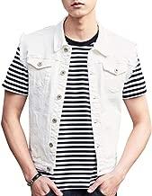 SUNFURA Men's Casual Denim Vest Regular Fit Distressed Sleeveless Jean Jacket