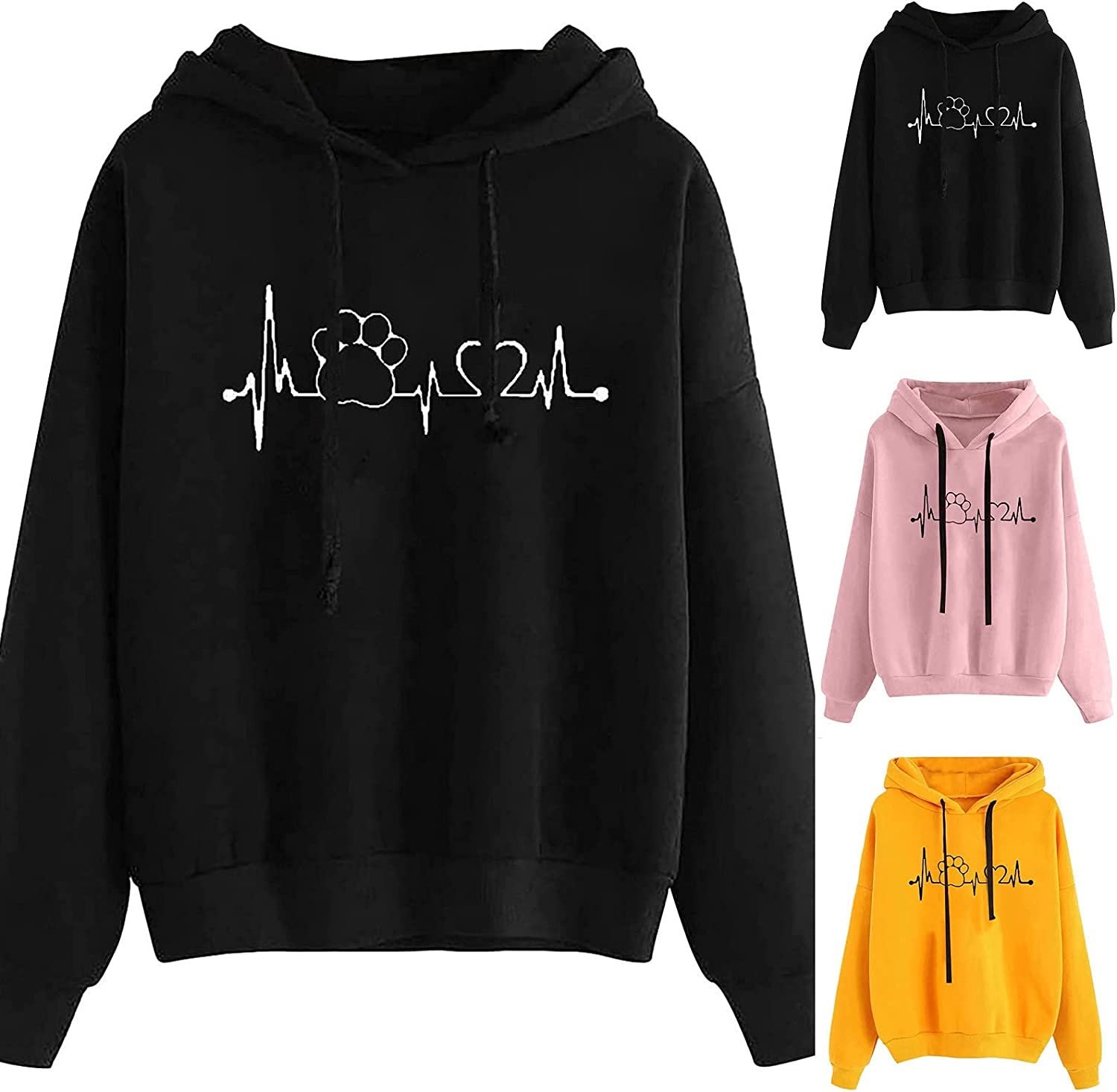 Women's Hoodie Casual Sweatshirts Long Sleeve Shirts Oversized Tunic Tops Cute Crew Neck Relaxed Fit Pullover Shirts