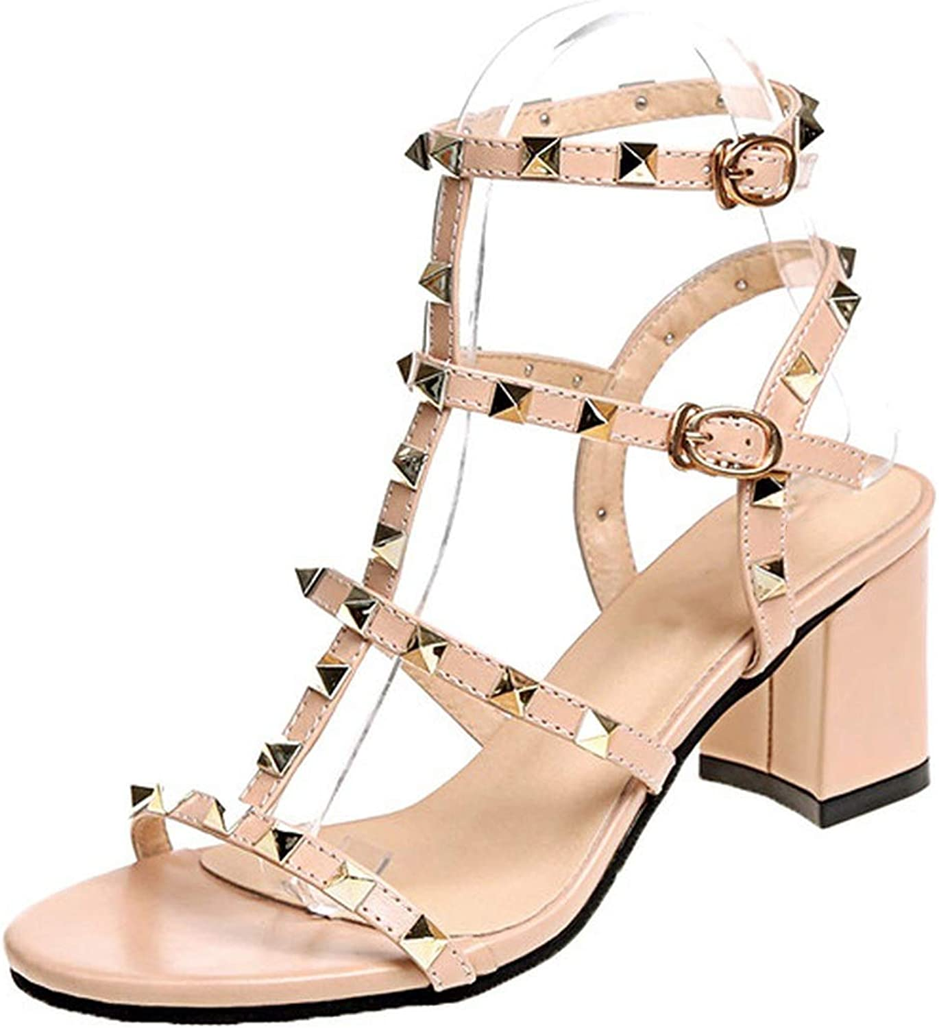 Ladies Square Heel Sandals Women shoes Buckle Gladiator Rivet Sexy Lady Thick Heel shoes
