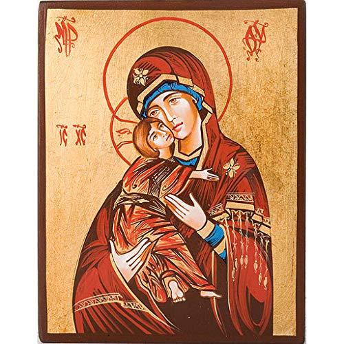 Holyart Ikone Gottesmutter von Wladimir mit roten Mantel
