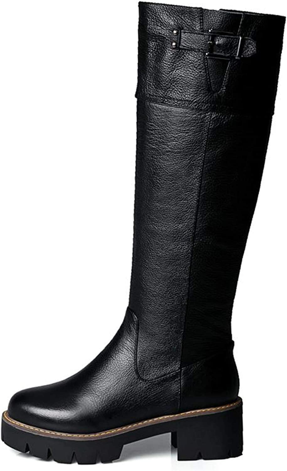 Pu+Genuine Leather Riding Boots Square Med Heel Fur Platform Winter Knee High Boots Women Motorcycle Boots