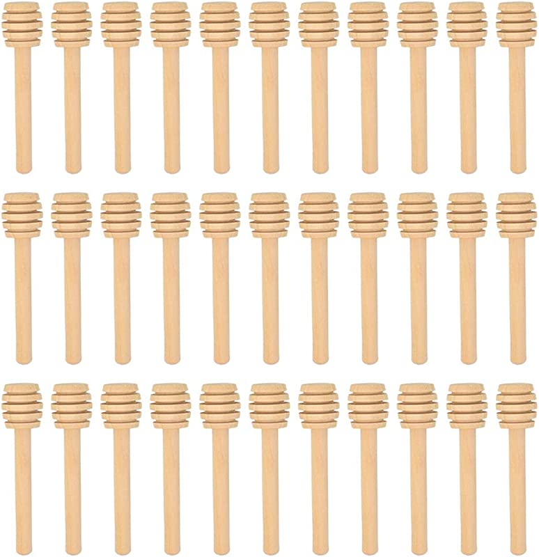 SUMERSHA 50 Pack 3 Inch Mini Wood Honey Dipper Sticks Server For Honey Jar Dispense Drizzle Honey Individually Wrapped Portable For Party Wedding Favors