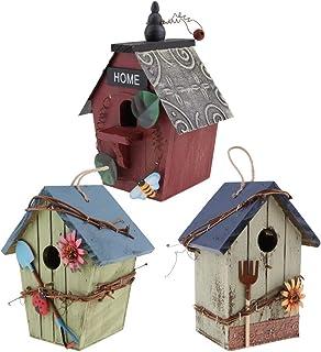 ✔ 4 x rustique en bois Nidification Nichoir Maison D/'Oiseau Moyen oiseaux mésange bleue Wren cases