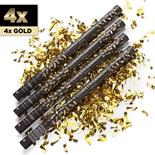 PartyMarty 4X XXL Konfetti-Shooter Gold 80 cm - Party Popper Konfettikanone Konfettishooter Streamer - für Silvester, Hochzeit, Party, Geburtstag & Co GmbH®