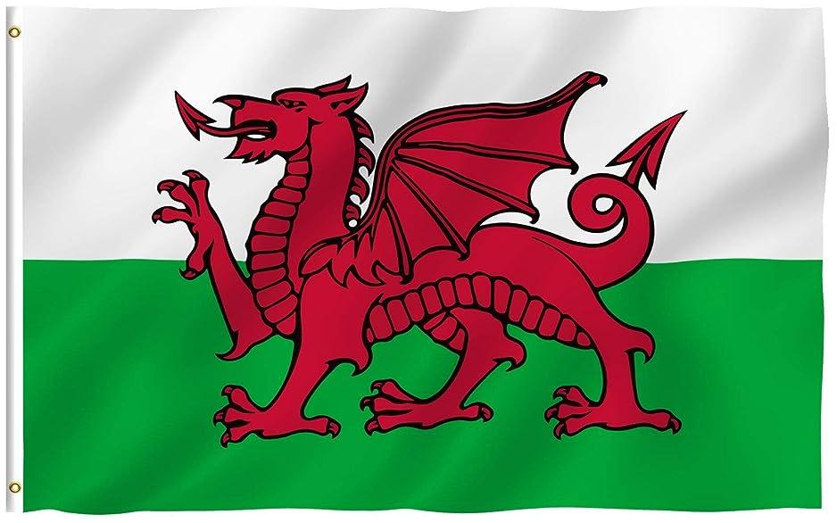 ファントム恥ずかしい厚くするAnley フライブリーズ 3X5 フット旗旗-鮮やかな色とUVフェード 耐性 -キャンバス ヘッダーとダブル ステッチ ウェールズの国旗 真鍮 グロメット付き ポリエステル