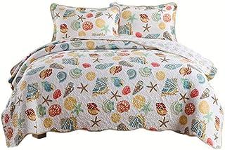 シェルプリントリバーシブルキルティングベッドカバー2枕掛け布団ジャカード寝具セットイージーケアコットン掛け布団キルト、230×250cm