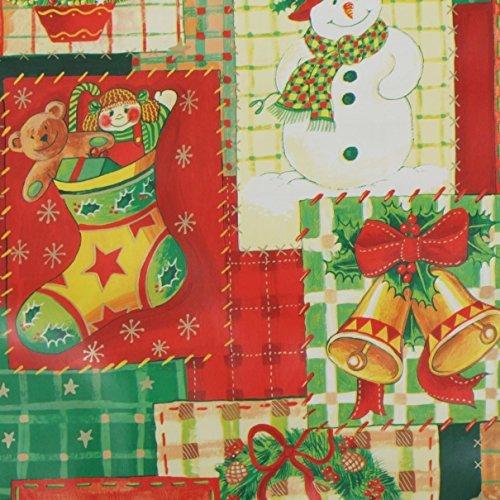 Patchwork Christmas cerata in PVC vinile tessuto Natale tavolo da cucina, utilizzabile come tovaglie