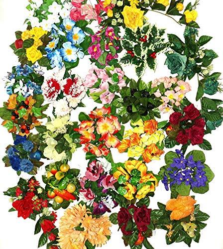 Kerzenringe Kerzenkranz Blumenkranz (20 Stück) Mix Künstliche Blumenring Flower Ring Tischdeko