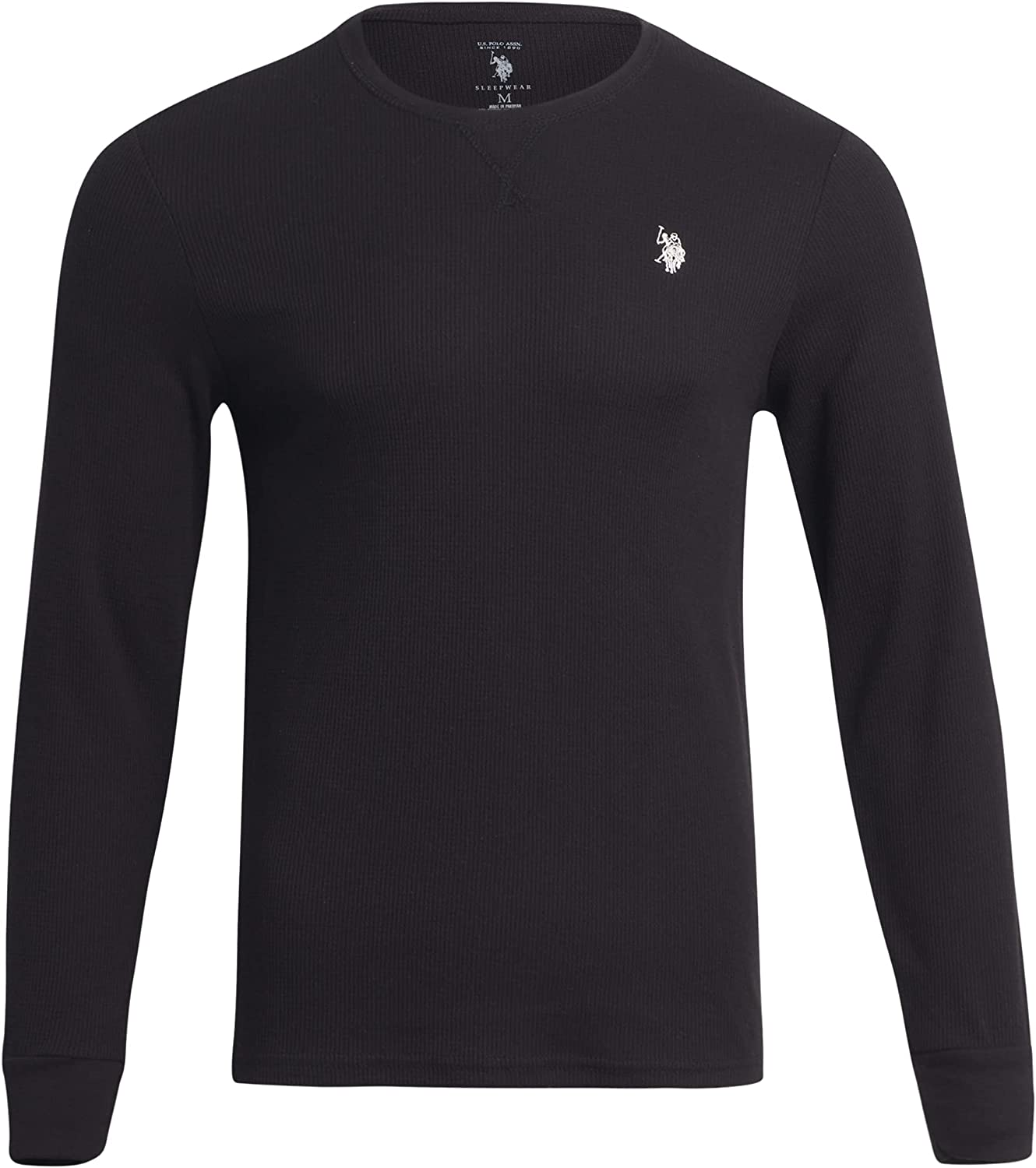 U.S. Polo Assn. Men?s Thermal Shirt ? Long Sleeve Waffle Knit Top, Size Large, Black