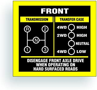 Solar Graphics USA Transmission Shift Pattern Decal - Compatible with Jeep, Willys Or CJ May Fit Transmission and Transfer Case Models Dana 20, 3 Speed, Single Stick - 3x2.75 inch