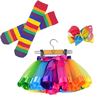 Little Girls Tutu Outfit,Layered Ballet Tulle Rainbow Tutu Skirt with Hairbow and Long Stockings or Birthday Sash