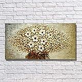 WZYYHH Handgemaltes Ölgemälde Auf Leinwand Gold Schöne Blumen Für Wohnzimmer Wandkunst Wohnkultur Abstraktes Bild