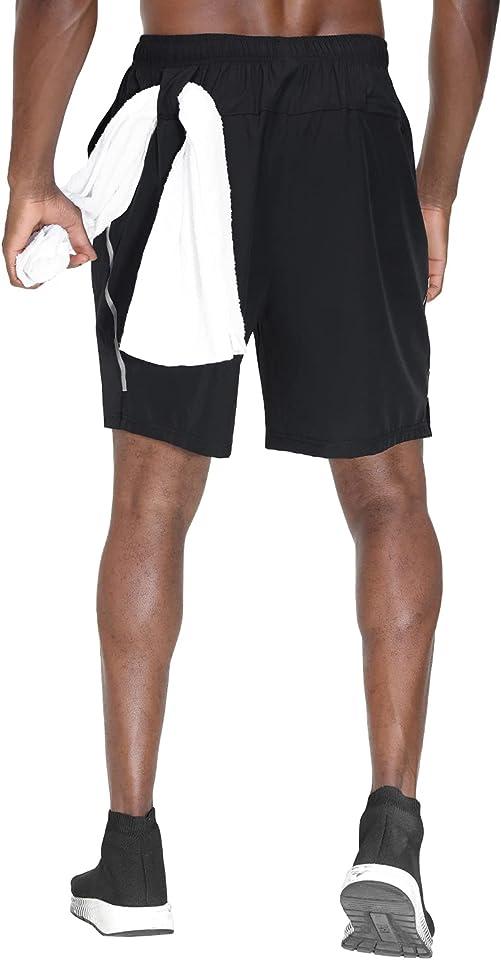 HMIYA Herren Sporthose Kurz Schnell Trocknender Sport Shorts Atmungsaktiver Jogginghose Fitness Training mit Taschen Reißverschluss