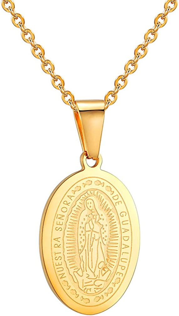 PROSTEEL Guadalupe Necklace,Mother Mary Pendant & Chain,Religious Christian Jewelry, 18K Gold Plated,Stainless Steel