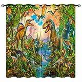 YUANZU Jurassic World Curtains - Kids Boys Dinosaur Jungle Animals Wildlife Dino 3D Print Pattern Eyelet Blackout Thermal Insulated & Room Darkening Window Drapes for Bedroom 2 Panels W75cm x D166cm