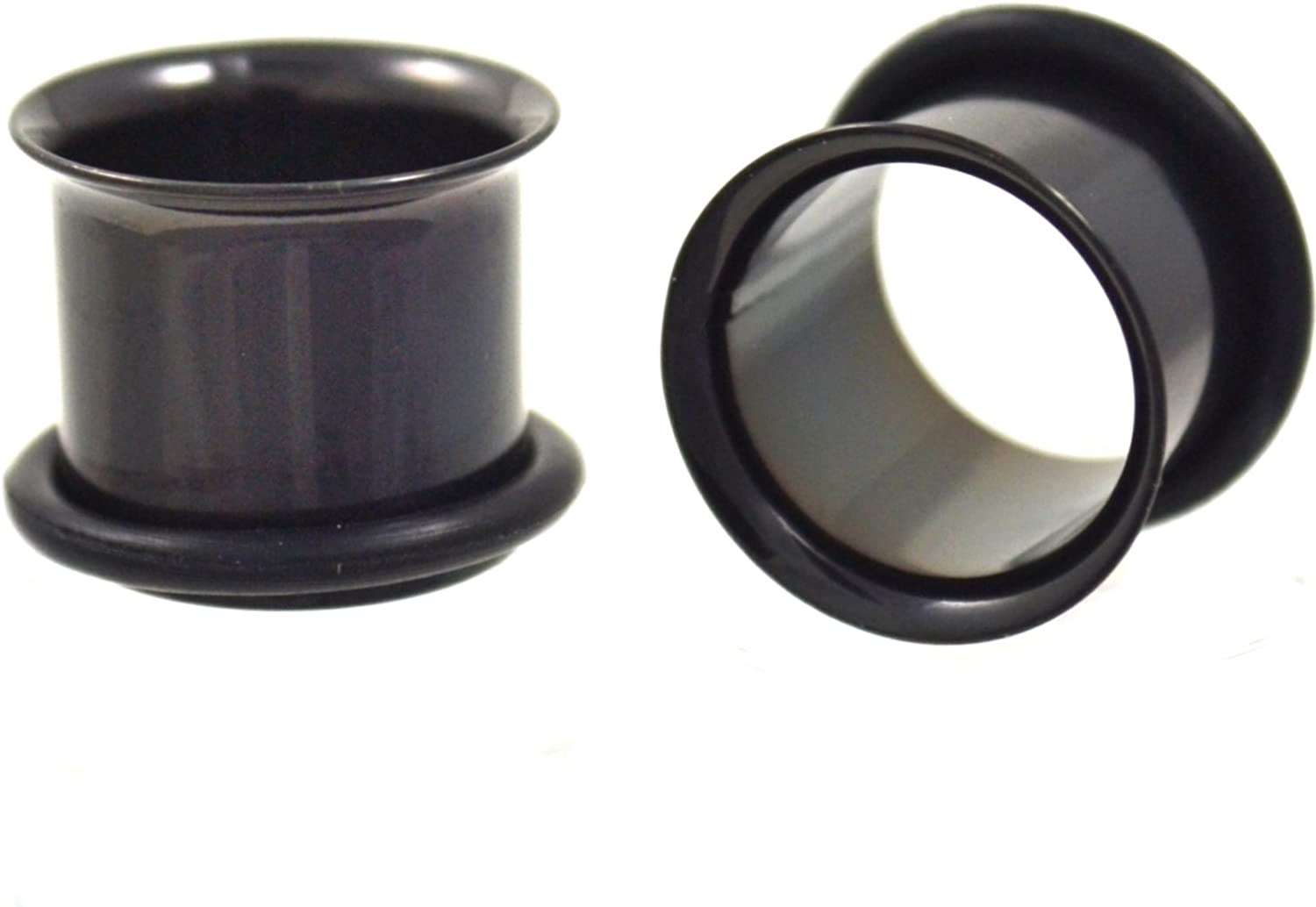 Pair of Single Flared All Black Titanium Plated Ear Tunnels Piercing Eyelets Plugs - 00G 10MM