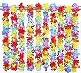 LINSUNG Lot de 20 Colliers de Fleurs hawaïens, Arc-en-Ciel, Assorti