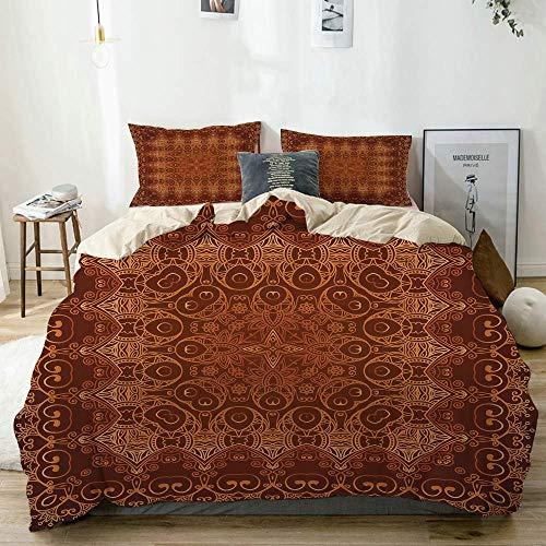 Juego de funda nórdica beige, patrón árabe persa de encaje vintage de Ottoman Empire Palace estilo alfombra, juego de cama decorativo de 3 piezas con 2 fundas de almohada Fácil cuidado antialérgico su