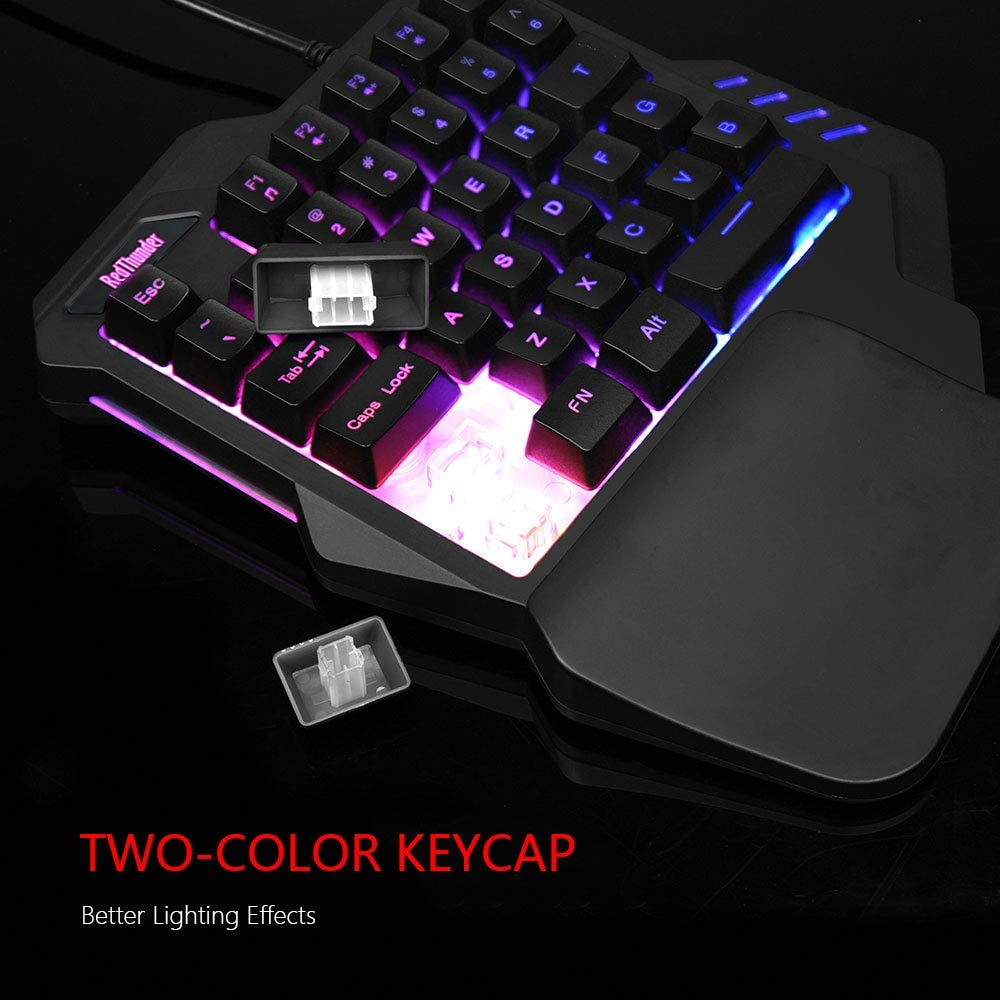 RedThunder One-Handed RGB Gaming Keyboard and Mouse Combo, 35 Keys Mini Gaming Keypad, 6400 DPI Mouse, Portable Game Controller for PC Gamer