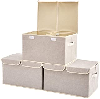 EZOWare Set of 3 Large Linen Fabric Foldable Storage Cubes Bin Box Containers with Lid and Handles for Home, Office, Nurse...