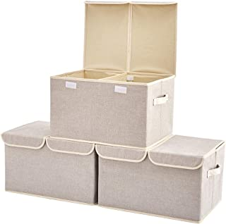Large Storage Boxes [3-Pack] EZOWare Large Linen Fabric Foldable Storage Cubes Bin Box Containers with Lid and Handles for Nursery, Closet, Kids Room, Toys, Baby Products (Silver Gray)