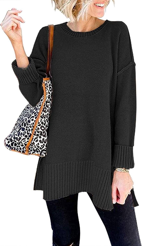 YIBOCK Women's Crew Neck Long Sleeve Side Split Loose Knit Pullover Sweater Jumper Tops
