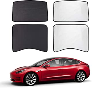 TACHICO Tesla Model 3 Glass Roof Mesh Sunshade Sunroof Overhead Roof Sun Shade,Fit Roof Window Sunshades Compatible for Tesla Model 3(2 of Set,Black)¡­