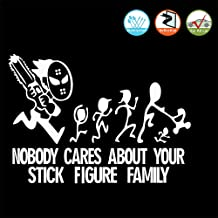 FineFun Nobody Cares About Your Stick Figure Family Stickers for Car Sign, Decal, Road Sign, Bumper Sticker Sign Style, Bad Driving Signs, Tailgater Car Sign (White)