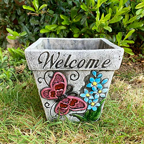 Darthome Ltd Bright Butterfly Square Welcome Cement Flower Garden Plant Seed Herb Pot Planter