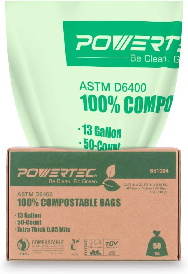 POWERTEC ASTM D6400 Certified Compostable Bags – 50 Count | 49.2 Liter - 13 Gallon Trash Bags, 0.85 Mil, US BPI and European OK Compost Home Certification - 100% Sustainable Green Products