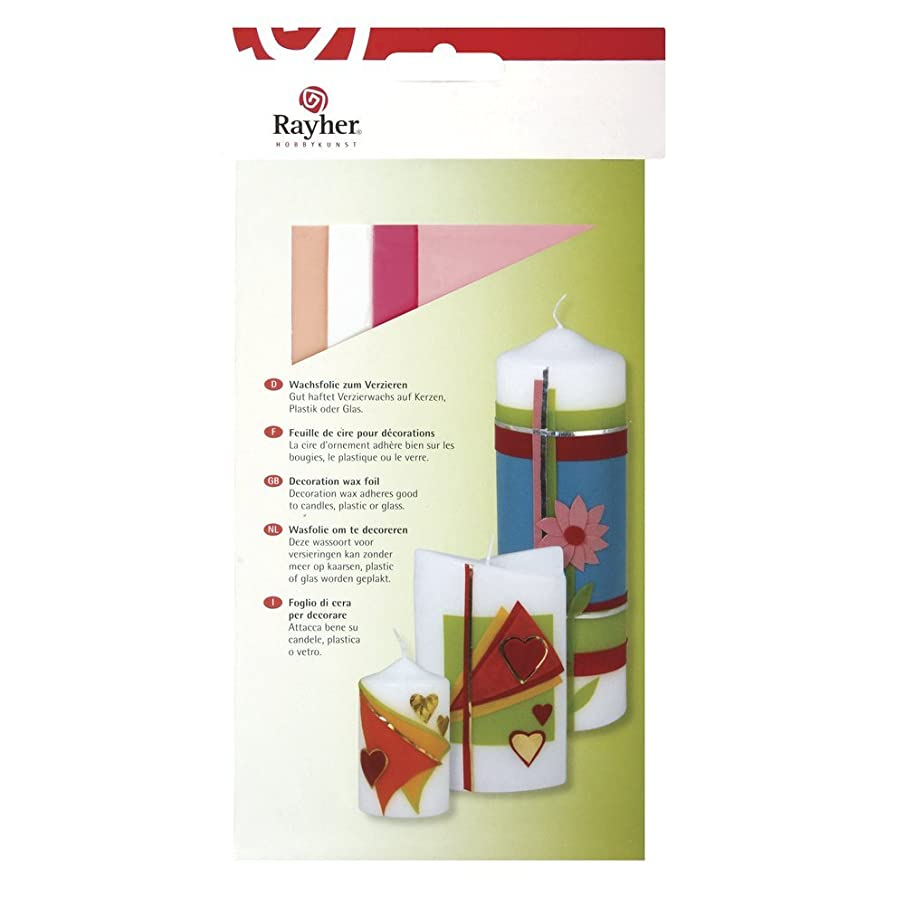 RAYHER 31449000?Wax Foil 20?x 6.5?cm 4?Assorted Colours Self-Service Bag/Pack of 4?–?Pink Tones