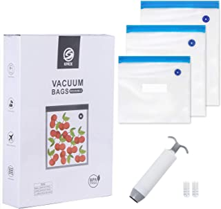 Reusable Sous Vide Bags, Reusable Vacuum Food Storage Bags for Anova and Joule Cookers - 3 sizes Sous Vide Bag Kit with Pump - Sealing Clips - Sous Vide Bag Clips for Food Storage and Sous Vide Cooking