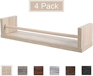 TQVAI 4 Pack Wooden Spice Rack Organizer Wall Mount Floating Shelves Rustic Decoration Storage Rack, Burlywood