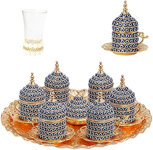 Alisveristime 27 Pc Ottoman Turkish Greek Arabic Coffee Espresso Serving Cup Saucer (Evil Eye) … (Gold)