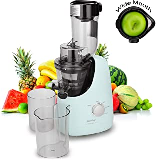 COMFEE' BPA Free Masticating Juicer Extractor with Ice Cream Maker Function. 3.4inch Large Chute. 55RPM Slow Cold Press Masticating and Grinding. High Yield.Quiet Motor. Reverse Function. Mint Green