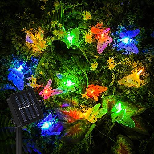 Vivibel Led Solar Schmetterling Lichterkette außen, Multi Farbe, IP65 wasserdichte Decor Beleuchtung für Hausgarten Terrasse Rasen Party