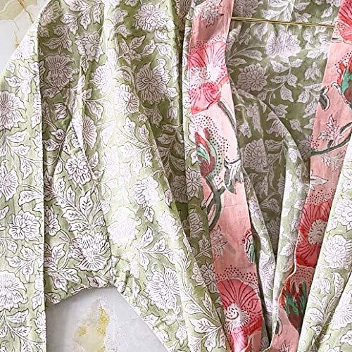 Beach.Hope.Love Handgemachter Block-Print Kimono für Damen Brazilian Jungle aus organischer Baumwolle | Morgenmantel | Festival Jacke | Bademantel