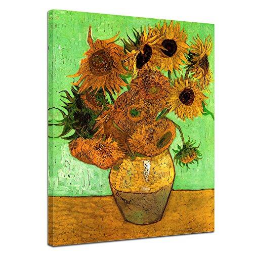 Wandbild Vincent Van Gogh Zwölf Sonnenblumen - 40x50cm hochkant - Alte Meister Berühmte Gemälde Leinwandbild Kunstdruck Bild auf Leinwand