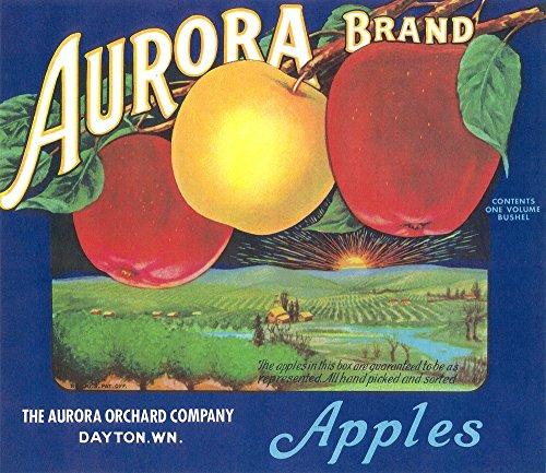 Aurora Apple Label (blue) (12x18 Fine Art Print, Home Wall Decor Artwork Poster)