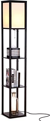 Brightech Maxwell - Modern LED Shelf Floor Lamp - Skinny End Table & Nightstand for Bedroom - Combo Narrow Side Table with Standing Accent Light Attached - Asian Tower Book Shelves - Black